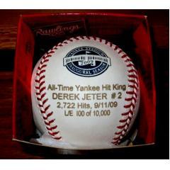 Derek Jeter All-Time Yankees Hits Leader Laser Engraved Baseball & Case