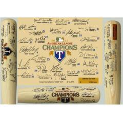 Player names & facsimile signatures surround the bat barrel.