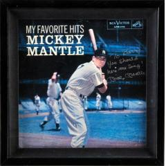 Mickey Mantle Signed & Framed Record Album
