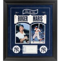 Roger Maris Signed Index Card Display