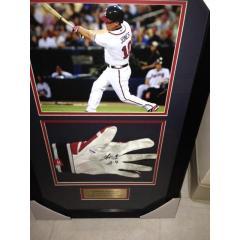 Chipper Jones Game Used Batting Glove Framed Presentation