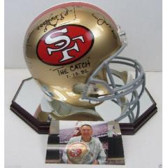 """The Catch"" Dual Signed & Inscribed 49ers Helmet Replica"