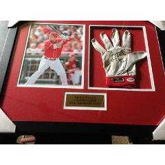 Joey Votto Game Used Batting Glove Framed Presentation