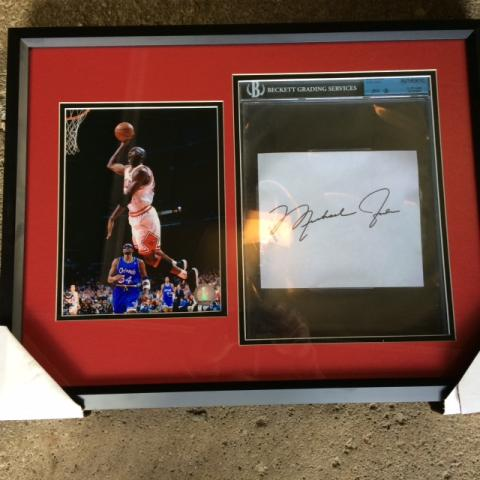 BigTimeBats.com - Michael Jordan Framed Photo & Cut Signature ...