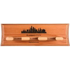 Kansas City Skyline Custom 3 Bat Display Rack