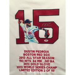 Dustin Pedroia Hand Painted Jersey by Al Sorenson