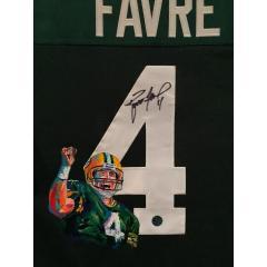 Brett Favre Signed Jersey with Art by Al Sorenson