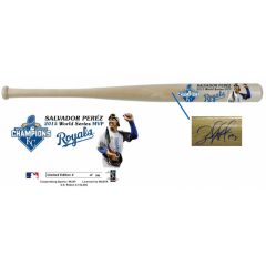 Salvador Perez Autographed MVP Photo Bat