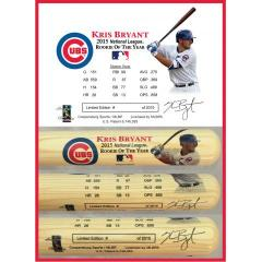 Kris Bryant 2015 Rookie of the Year Photo Bat