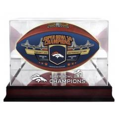 Broncos Super Bowl 50 Champs Blue Panel Ball with 1/2 Price Display Case