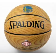 Warriors Western Conference Champs Wood Grain Commemorative Basketball