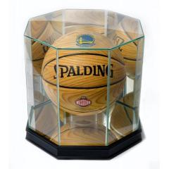 Warriors Western Conference Champs Ball & Glass Display Case Set