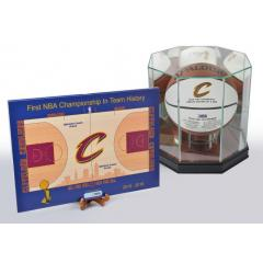 Cavaliers NBA Champs Mini Court and Basketball Deluxe Set with Display Case
