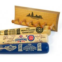 Cubs 2016 World Series Champs Three Bat Set and display rack