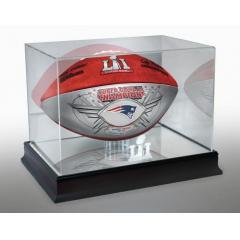 Patriots Super Bowl LI Champions SILVER Game Ball and Display Case