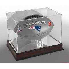 Patriots Super Bowl LI Champions Football and Display Case