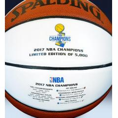 Warriors 2017 NBA Champions Spalding White Panel  Basketball