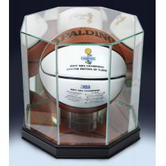 Warriors 2017 NBA Champions Spalding White Panel  Ball & Display Case