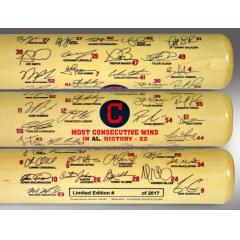 Cleveland Indians Consecutive Win Streak Record Signature Bat
