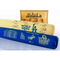 Dodgers 2017 World Series Two Bat Set with Display Rack