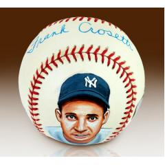 Frank Crosetti Hand Painted and Signed Baseball in Display Case