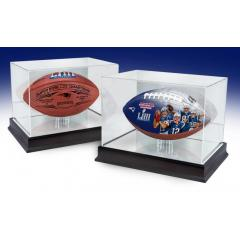 Patriots Super Bowl LIII Champions Matched Number Football Set with Display Cases