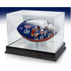 Patriots Super Bowl LIII Champions Commemorative Art Football & Display Case