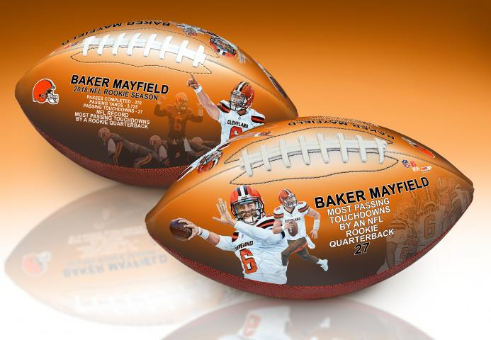 846f1bfc9c17 BigTimeBats.com - Baker Mayfield Rookie TD Record Art Football