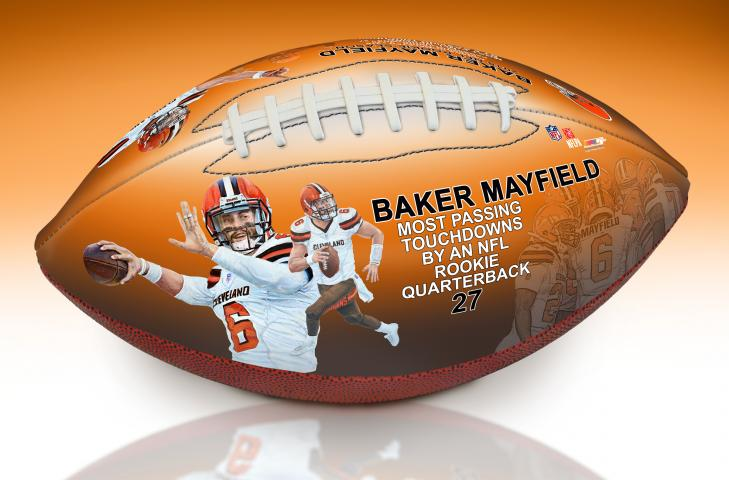 974e3a67b46a This page is for a Baker Mayfield Rookie TD Passing Record Art Football and  a deluxe football display case. The display case and football will ship ...