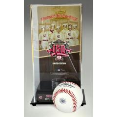 Red Stockings 150th Anniversary Rawlings Baseball in Art Case