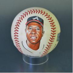 Hank Aaron Signed & Hand Painted MLB Baseball