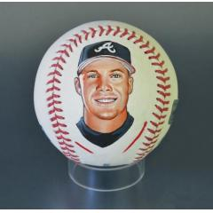 Chipper Jones Signed & Hand Painted MLB Baseball