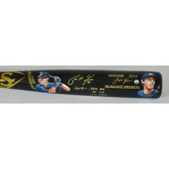 Christian Yelich Signed, Inscribed, & Hand Painted Player Model Bat