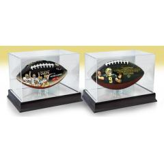 Drew Brees Yards Record and Saints NFL 100th Anniversary Art FB Set with Display Cases