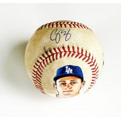 Corey Seager Signed & Hand Painted Game Used Baseball