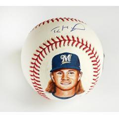 Josh Hader Signed & Hand Painted Baseball